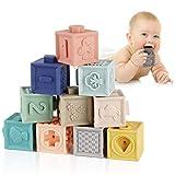 Mini Tudou Baby Bausteine Spielzeug Stapelwürfel Bauen Motorikspielzeug Baby Beißring,Lehrreich Lernspielzeug mit Zahlen Tiere Formen Texturen ab 6 Monate 12 Stück