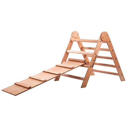 RINAGYM-Kletterdreieck - Indoor-Leiter mit Rutsche - Holzrahmen für Kinder, fördert das Gleichgewicht - Farbe & Lack auf Wasserbasis - 50 kg Tragkraft