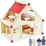 rcee Puppenhaus aus Holz für Puppen, Puppenstube mit 2...