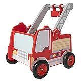 labebe Rot Feuerwehrauto Lauflernwagen Holz Baby Push Pull...