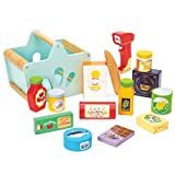Le Toy Van - Holz-Spielset und Holzscanner für Einkäufe und Rollenspiele | Supermarkt Pretend Play Shop mit Spielzeugnahrung