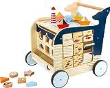 small foot 11608 Lauflernwagen Wal aus Holz für erste Gehversuche, multifunktional zur Förderung der Motorik für Kinder ab 1, mehrfarbig