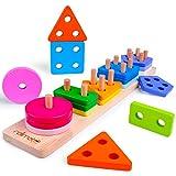 Rolimate Steckplatte Holz Holzpuzzles Sortierspiel Holzsteckspiel für Kinder 2 3 4 Jahre 16-teilig Farben-und Formenwürfel, Sortier Stapel Steckspielzeug Montessori Sensorisches Spielzeug (38.5*7.5cm)