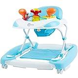 Bieco Baby Lauflernhilfe   3in1   Gehfrei Baby ab 6 Monaten   Baby-Walker   Spielcenter mit Aktivität&Melodien   Blau-Weiß   Kippsicher und Höhenverstellbar   Kinder lauflernhilfe