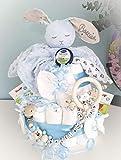 Windeltorte XXL - Kuscheltier süßer Hase - Schnullerkette & Greifling - Geschenk, Babyparty, Geburt Taufe + auf Wunsch Gratis Grußkärtchen