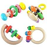4 Stück Toy Montessori Rassel Holzgriff Rassel Geschenk...