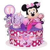 MomsStory - Windeltorte Mädchen   Minnie Mouse Disney   Baby-Geschenk zur Geburt Taufe Babyshower   1 Stöckig (Lila-Pink) mit Plüschtier Lätzchen Schnuller & mehr