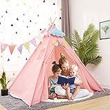 YOLEO Kinderzelt Tipi Spielzelt für Kinder Kinderzimmer Zelt Kinder Geschenke Zelt Indianerzelt - Spielhaus Zelt für Drinnen und Draußen - aus Baumwolle und Leinen (130cm hoch) (Weiß/Rosa) (Rosa)
