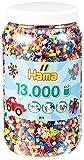 Hama Perlen 211-00 Bügelperlen XXL Dose mit ca. 13.000 bunten Midi Bastelperlen mit Durchmesser 5 mm im 10 Farben Mix, kreativer Bastelspaß für Groß und Klein