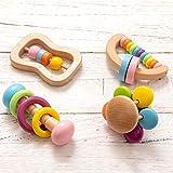 Promise Babe 4pcs Rassel Baby Set Holzspielzeug für...