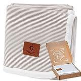 mimaDu® Babydecke Baumwolle Grau Baby Kuscheldecke Babydecke Junge Babydecke Winter Geschenk zur Geburt aus 100% Oeko-TEX gekämmte Baumwolle (Grau Weiß)