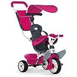 Smoby - Baby Balade rosa - Mitwachsendes Kinderdreirad mit Schubstange, Sitz mit Sicherheitsgurt, Metallrahmen, Pedal-Freilauf, für Kinder ab 10 Monaten