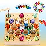 LETOMY Magnetische Angelspiel Holzspielzeug 2 in 1 Montessori Lernspielzeug Magnettafel Fischspielzeug aus Holz Geschenk ab Mädchen Jungen Kinder Lernen Spielzeug mit Magnetstangen
