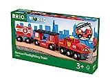 BRIO World 33844 Feuerwehr-Löschzug – Feuerwehrzug mit...