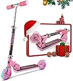 Oppikle Scooter Kinder Roller Tretroller Cityroller Kick Scooter Klappbar Mit Led Big Wheel Kugellager ABEC 7,Tragkraft 110 Lb (Pink)