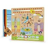 WoodyWood® Kalenderuhr für Kinder - Lernuhr aus Holz,...