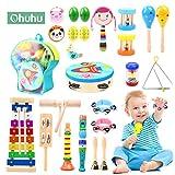 Ohuhu 28 Stück Musikinstrumente für Kinder, Musical Instruments Set Musik Kinderspielzeug, Holz Percussion Set, Xylophon Schlagzeug Schlagwerk Rhythmus Baby Spielzeug für Kinder und Baby