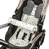 Sitzauflage Kinderwagen Einlage - Buggy Auflage Sitzeinlage für Kindersitz atmungsaktiv universal Set mit Kopfstütze Gürtelschutz 75x35 cm (Grau – Eulen)