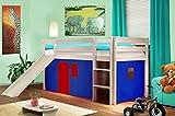 SixBros. Hochbett Kinderbett Spielbett mit Rutsche Massiv Kiefer Weiß - Blau/Rot V2 - SHB/20/1032