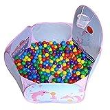 Kiddy-Fux Kinder Bällebad, Pop Up Baby Kugelbad Outdoor mit Mini Basketballkorb Bällepool Bällebecken Spielbälle Kugelbad Bällchenbad Spielbecken für drinnen und draußen 120cm inch - Pink