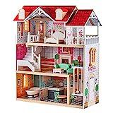 TOP BRIGHT Puppenhaus aus Holz, Puppenhaus mit Möbel und...
