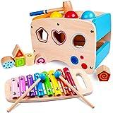 Lamlingo Hämmern Spiel,Xylophon-Musikspielzeug für Kleinkinder,Hölzerne Farb-und Formsortierer-Puzzles,Lernen von Entwicklungsspielzeug für 1,2,3 und mehr Jahre alte Jungen- und Mädchengeschenke