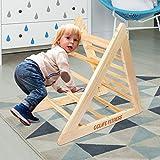 CCLIFE Kletterdreiecke nach Pikler Art Holz Indoor für Babys Kinder Kleinkinder Aktivspielzeug natürliche ungiftige Farbe, Farbe:Kletterdreiecke (Ohne Rutsche)