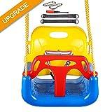 IMMEK Babyschaukel 3 in 1 Babysitz verstellbar und mitwachsend Schaukelsitz Gartenschaukel für Baby und Kinder mit Rückenlehne und Anschnallgurt belastbar bis 200kg Blau Indoor Outdoor