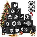 Adventskalender zum Befüllen, 24 Adventskalender Geschenkbox, mit Zahlenaufklebern, für Weihnachtlichen 2021 zum Basteln und Befüllen, Weihnachts-Geschenkschachtel zum DIY, Schwarz