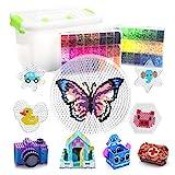 YRYM HT 18000 Stück Bügelperlen Set - Bügelperlen Kit 48 Farben für Kinder - 5mm Steckperlen mit Mehreren Benötigten Zubehörteilen - Bügelperlen Kit für Kindergeschenk