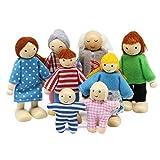 Wagoog Puppenhaus Puppenfamilie Set, Holz 8 Personen Figuren...