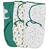 Baby Pucksack Wickel-Decke 100% Bio-Baumwolle 220GSM / 1.0 TOG - 3er Pack Universal Verstellbare Schlafsack Decke für Säuglinge Babys Neugeborene 4-6 Monate
