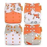 HahaGo Baby Stoffwindel waschbar wiederverwendbare Windeln All-in-One-Taschenwindel für die meisten Babys und Kleinkinder (4PCS, Orange Fox Muster)