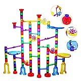 Ucradle Kugelbahn - 152pcs Mehrfarbige Murmelbahn Marble Run Set mit Bahnelementen und Glasmurmeln, Mint Lernspielzeug und Konstruktionspielzeug für Kinder Mädchen Jungen 4+
