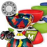 Mister M ✓ Das Ultimative Kugellager Diabolo Set ✓ Kugellager Diabolo ✓ Alu Stöcke ✓ Online Lern-Video ✓ Geschenkbox (Kamouflage)