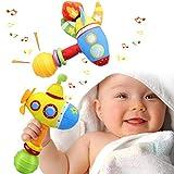 aovowog Baby Spielzeug ab 0 3 6 9 Monate,Sanft Rassel Babyspielzeug ab Baby 1 2 3 Jahr Mädchen Junge,Bunt Greifling Raketen-U-Boot mit Klingel Glocke Ring,Geschenk für Kleinkinder(2pack)