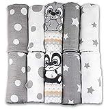 Mullwindeln - Mulltücher - 10er Pack 70x80 cm - Stoffwindeln, MADE IN EU - schadstoffgeprüft - Spucktücher für Jungen und Mädchen - Baby Mullwindeln – grau - weiß