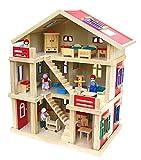 2222 Riesengroßes Puppenhaus Holz 54x37x69cm mit Möbel und Puppen
