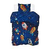 Aminata BALANCE Bettwäsche 135x200 Weltall Weltraum Baumwolle Kinder Junge Jungen - YKK Reißverschluss, blau - Kinderbettwäsche Rakete Motiv