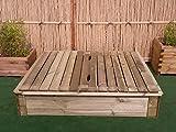 BIHL Sandkasten Deckel 150 x 150 cm Holz Sandbox Sandkiste...