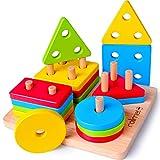 Rolimate Holzpuzzle Steckplatte Holz Sortierspiel Holzsteckspiel Montessori Pädagogisches Holzspielzeug Sortier Stapelspielzeug, Bestes Geburtstagsgeschenk für 2 3 4+ Jahre Kinder (17*15cm, 16-teilig)