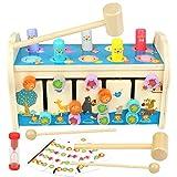 jerryvon Hammerspiel Klopfbank Holz Kinderspielzeug 3 in 1...