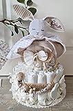 Windeltorte XXL - Kuschelhase mit Namen + Schnullerkette & Greifling mit Namen - Geschenk, Babyparty, Geburt oder Taufe + auf Wunsch, gratis Grußkärtchen