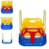 EXTSUD Babyschaukel 3 in 1 Babysitz verstellbar und mit wachsend Schaukelsitz Gartenschaukel für Baby und Kinder mit Rückenlehne und Anschnallgurt belastbar bis 200kg Blau