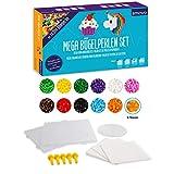 Smowo Mega Bügelperlen Set mit 10.000 Perlen - 15 Farben - inkl. Steckplatten und Zubehör - XXL Steckperlen Basteln Box