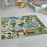Paco Home Kinder-Teppiche, Kurzflor-Teppiche für Kinderzimmer mit vers. Designs Spielteppiche Bunt, Grösse:120x160 cm, Farbe:Beige