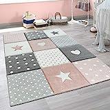 Paco Home Kinderteppich Kinderzimmer Punkte Herzen Sterne Pastell versch. Farben u. Größen, Grösse:80x150 cm, Farbe:Pink