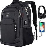 marcello Laptop Rucksäcke mit USB-Ladeanschluss Herren Damen für Arbeit Schule Uni Schulrucksack für Jungen Teenager mit Laptopfach & Anti Diebstahl Tasche (15,6 Zoll Schwarz)