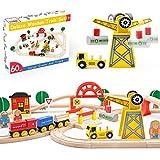 Holzeisenbahn- Eisenbahn Advanced Set- Kran Spielzeug & zug & Holz Eisenbahnen- 60Pcs- Passend für Brio,Thomas, Chuggington, Melissa- Kinderspielzeug für 3 4 5 6 7 Jahre Jungen und Mädchen