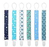 Schnullerkette Baby Schnullerband 6er Nuckelketten Junge Mädchen Schnullerketten für Schnur mit Clips Baumwolle YOOFOSS